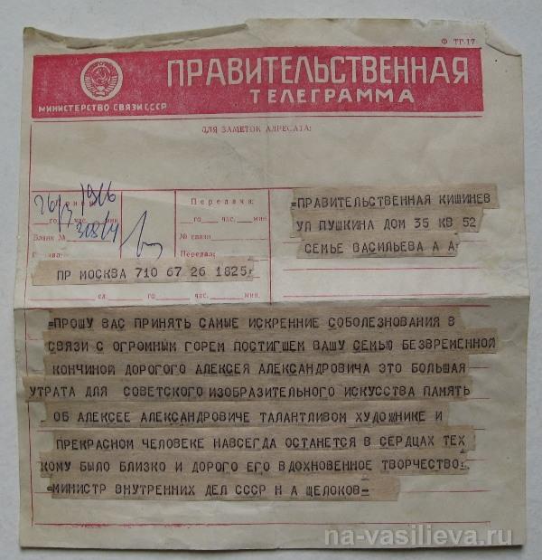 телеграмма Щелокова