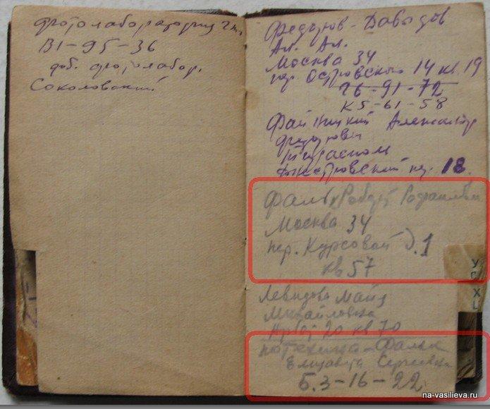 Записная книжка А. Васильева