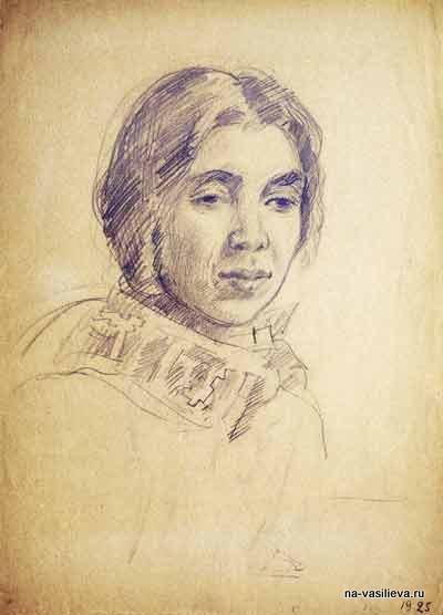 Портрет К.К.Алексеевой, 1925. Графитный карандаш