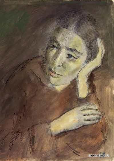 При свете коптилки (Портрет жены, А.В.Щекин-Кротовой), 1943.