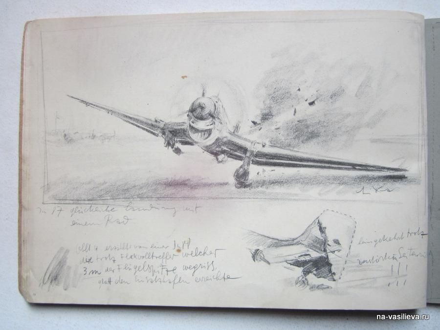 Поврежденный в бою Ю-87 садится на одном шасси
