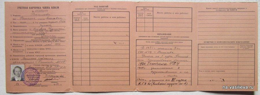 Учетная карточув комсомольца
