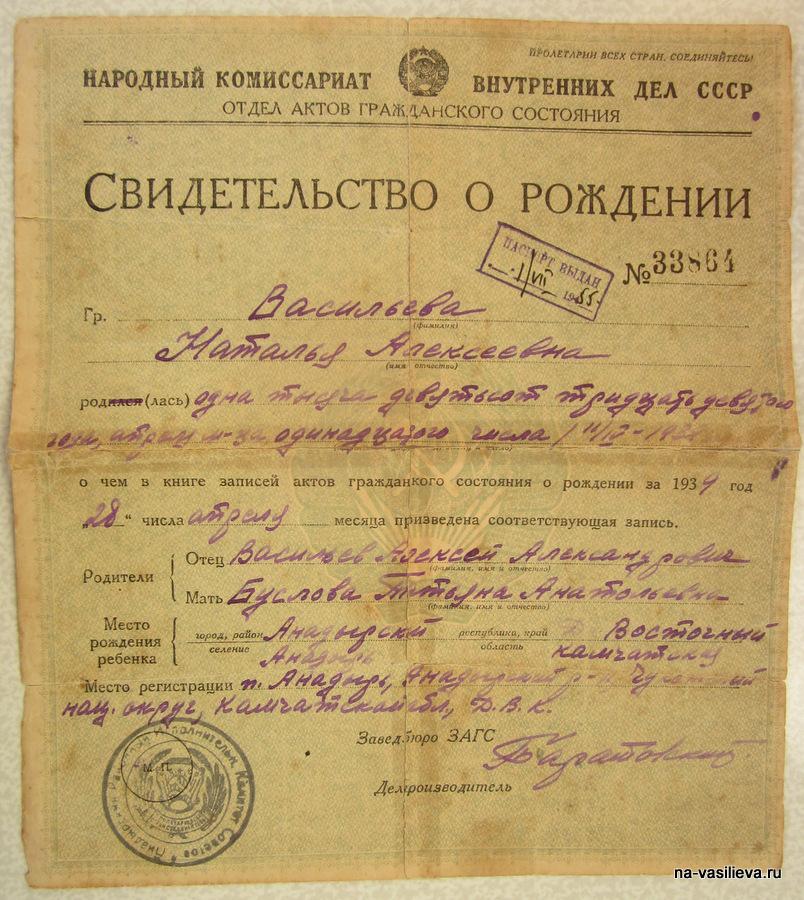 Рождение Наташи Васильевой