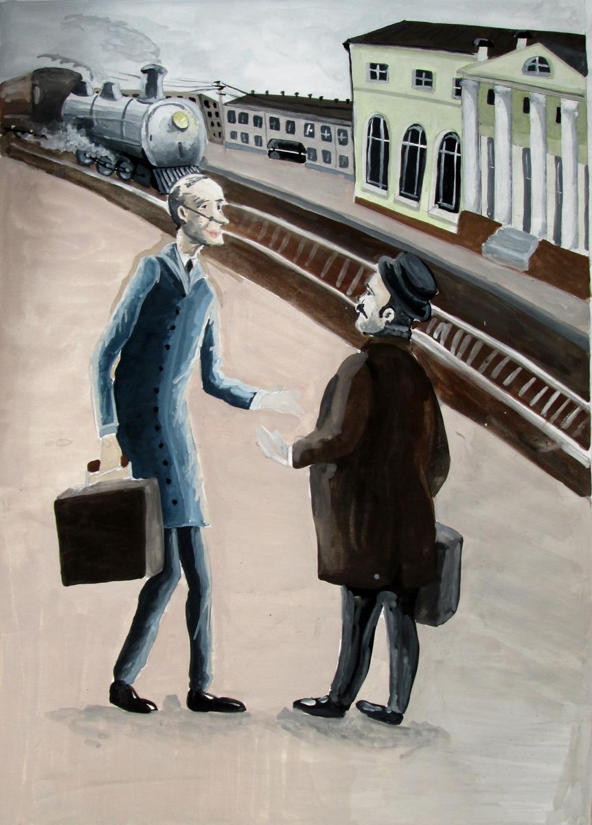Сафонова-Юля-Иллюстрация-рассказа-А.П.Чехова-Толстый-и-тонкий-3-кл