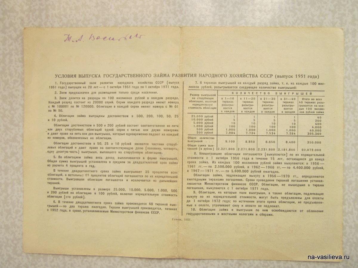 облигация 1951 г Т. Васильевой